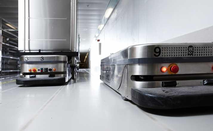 AGV in a hospital service corridor