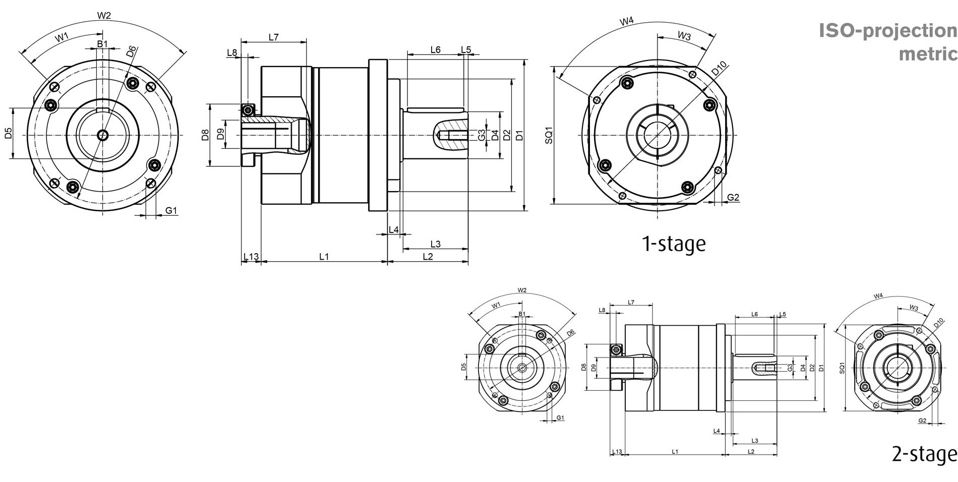 Planetary gear GFE dimensions