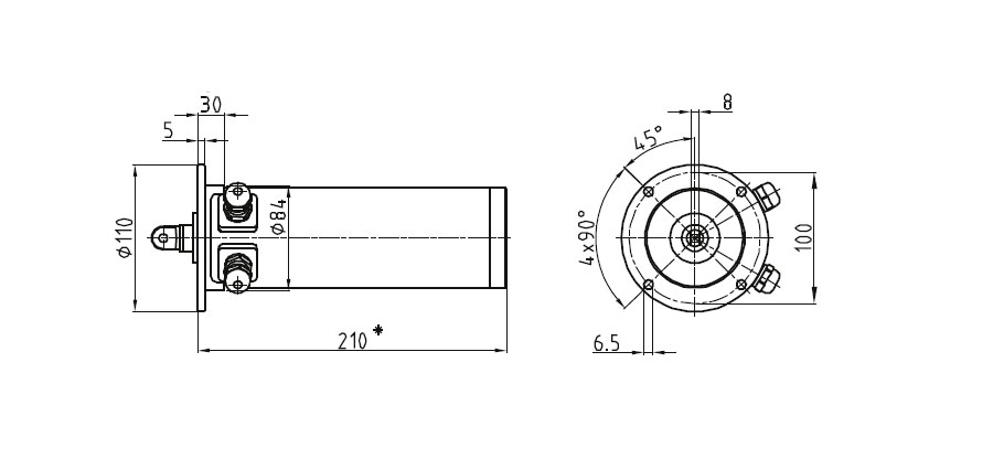 Dimensional drawing Linear actuator Mini 01 fixing C