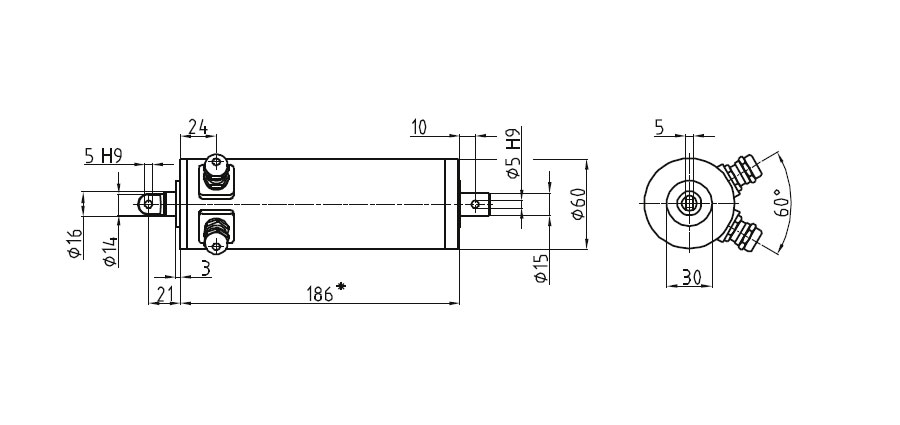 Dimensional drawing Linear actuator Mini 0 fixing A