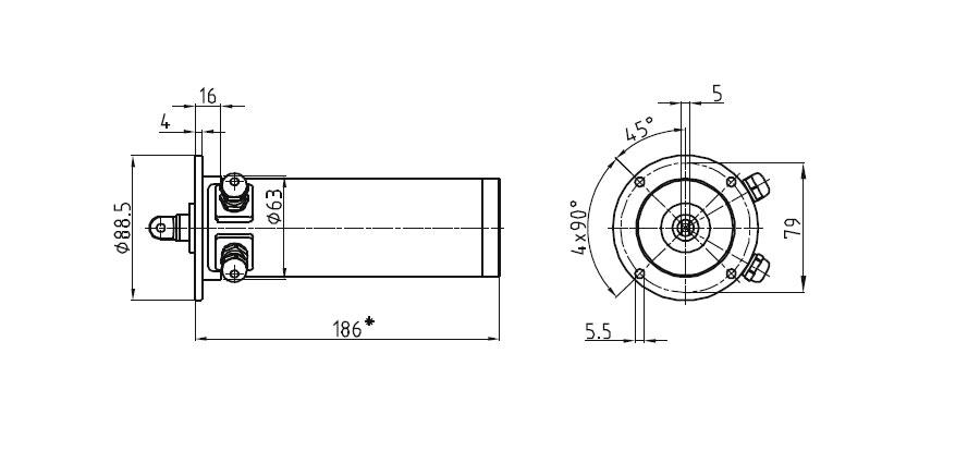 Dimensional drawing Linear actuator Mini 0 fixing C