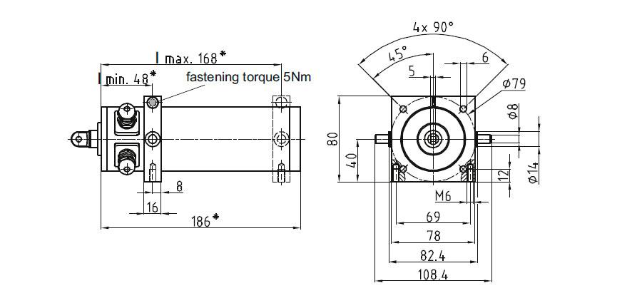Dimensional drawing Linear actuator Mini 0 fixing D, E, F