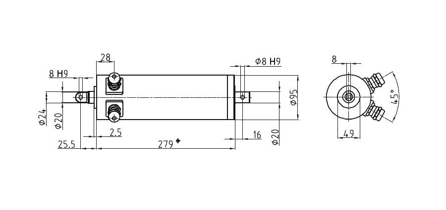 Dimensional drawing Linear actuator Mini 1 fixing A