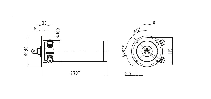 Dimensional drawing Linear actuator Mini 1 fixing C