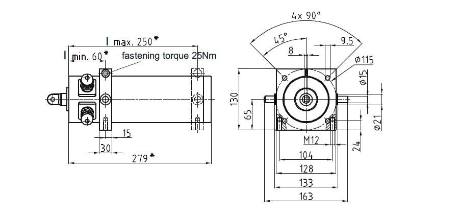 Dimensional drawing Linear actuator Mini 1 fixing D, E, F