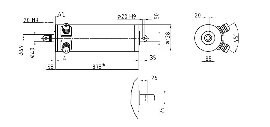 Dimensional drawing Linear actuator Mini 3 fixing A