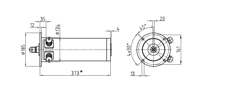 Dimensional drawing Linear actuator Mini 3 fixing C