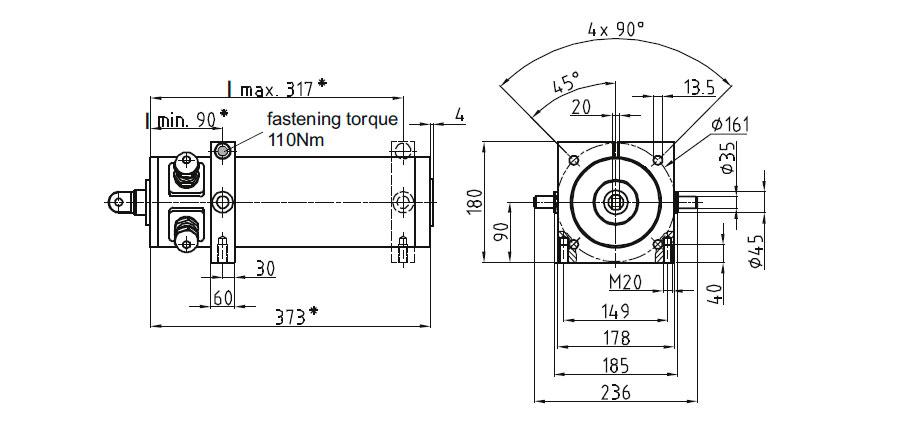 Dimensional drawing Linear actuator Mini 3 fixing D, E, F
