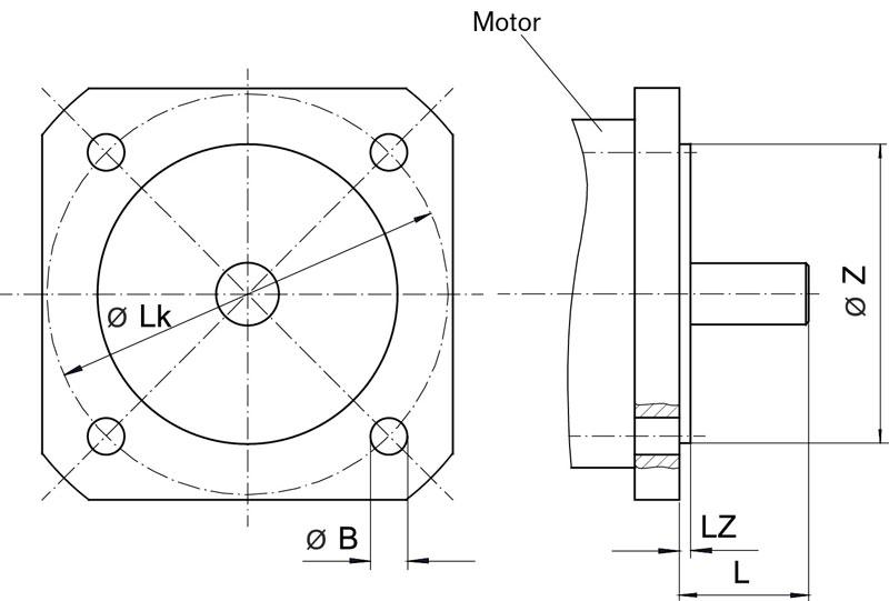 Motor flange dimensions