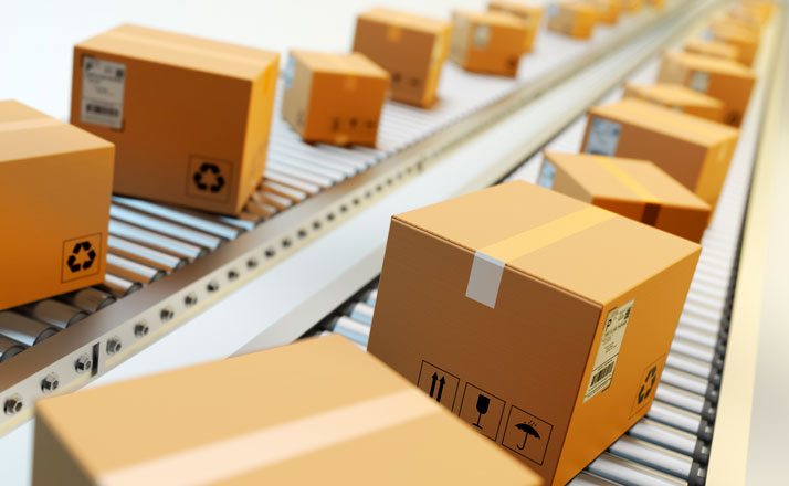Parcel on conveyor